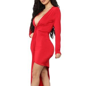 FASHION NOVA Sleek red deep V-neck dress Sz Med